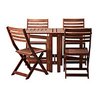 Стол+4 складных стула, д/сада ЭПЛАРО коричневый ИКЕА, IKEA, фото 1