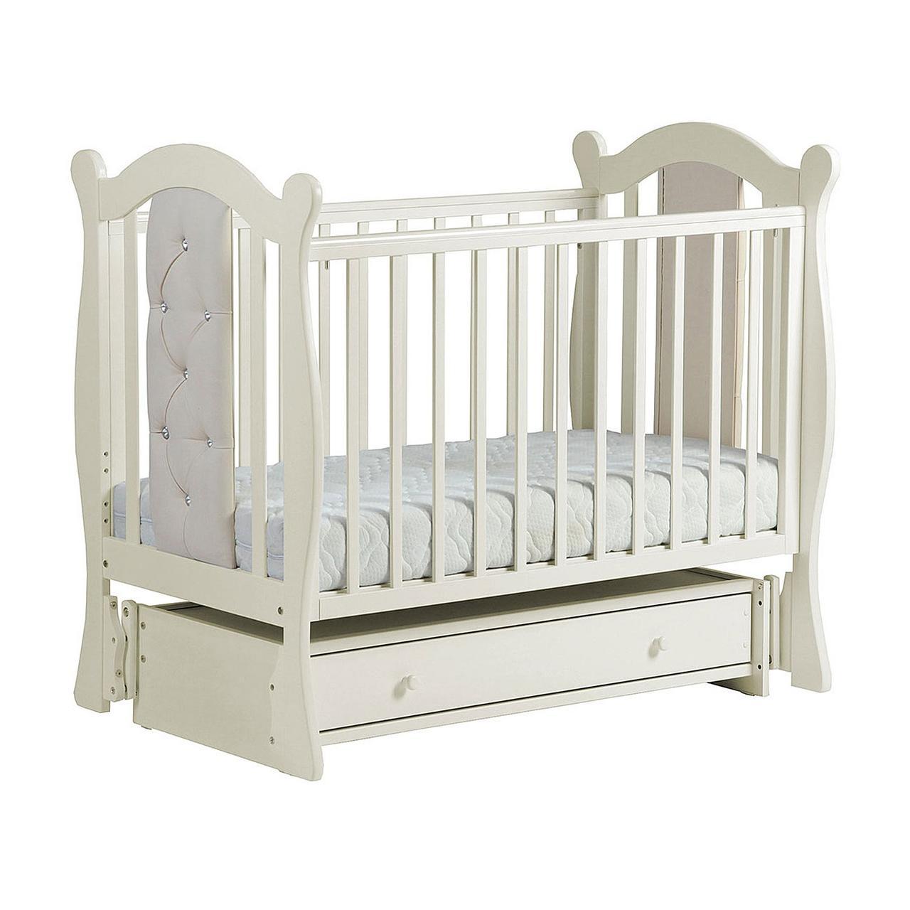 Детская кровать ЛЕЛЬ КУБАНОЧКА-9 универсальная с кожаными вставками Ваниль
