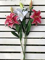 Искусственный цветок-,Лилия,цвет красный,белый,материал силикон,высота 75 см