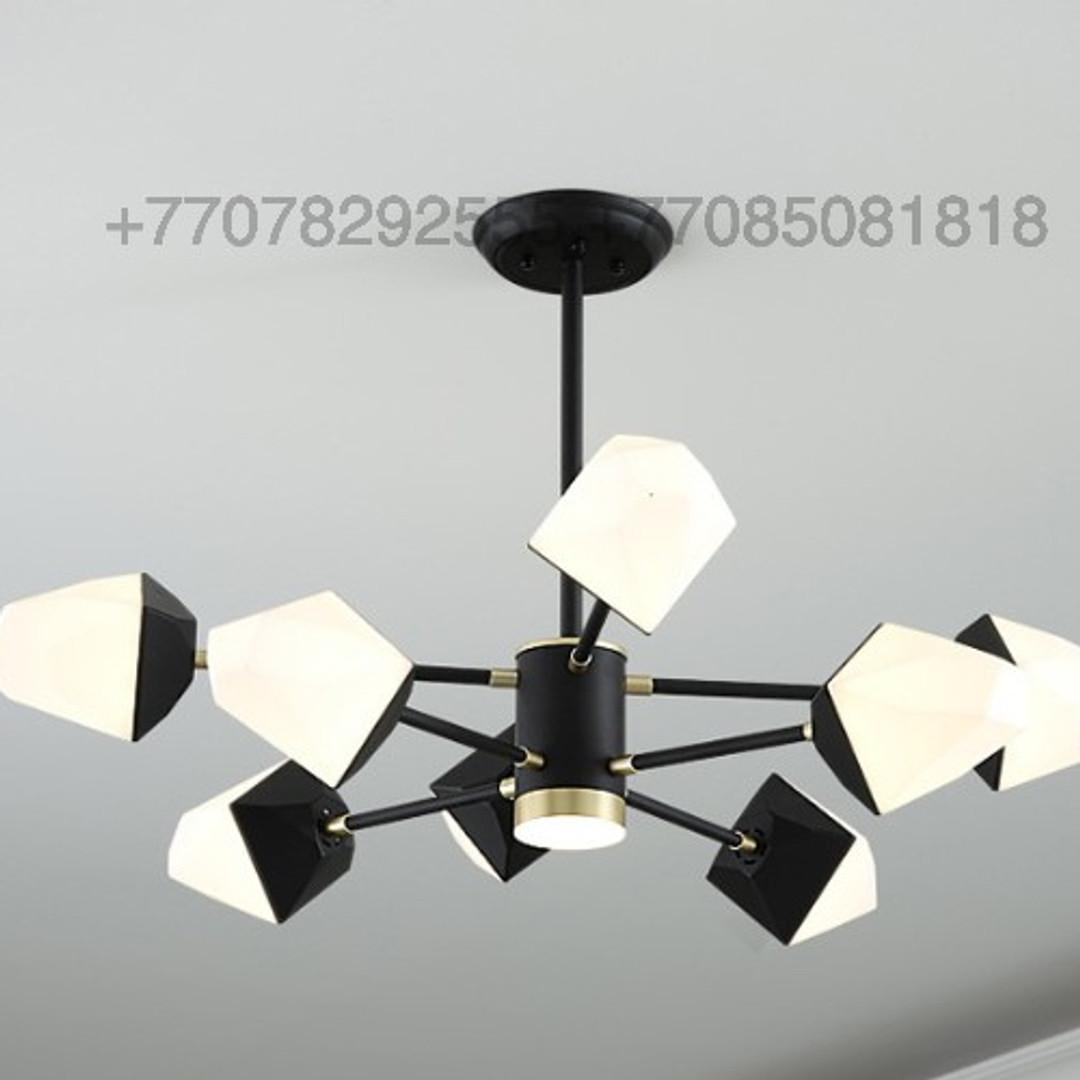 Потолочная черная люстра на 8 ламп