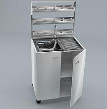 Стол мойка одинарная, стеллаж для сушки посуды, ц/м, 600х600х900 (1500) мм