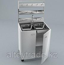 Стол мойка двойная, ц/м, стеллаж для сушки посуды, ц/м, 800х600х900 (1500)мм