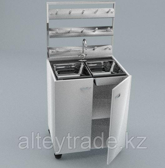 Стол мойка двойная, стеллаж для сушки посуды, ц/м, 800х600х900 (1500)мм