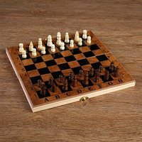 Настольная игра 3 в 1 'Цейтнот' шахматы, шашки, нарды, доска дерево 24х24 см