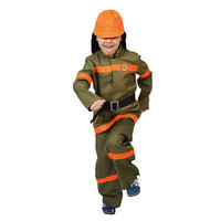Карнавальный костюм 'Пожарный', куртка, брюки, ремень, шлем, р-р 32-34, рост 128-134 см