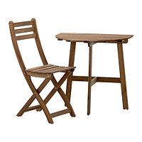Стол балконный +1 складной стул АСКХОЛЬМЕН серо-коричневый ИКЕА Казахстан, KEA , фото 1