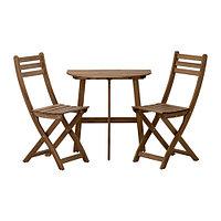Стол +2 складных стула АСКХОЛЬМЕН серый/коричневый IKEA, ИКЕА Астана, Казахстан , фото 1