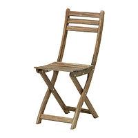Садовый стул складной АСКХОЛЬМЕН серо-коричневый ИКЕА, IKEA , фото 1