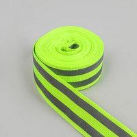 Светоотражающая лента стропа, 20 мм, 5 ± 1 м, 2 полосы, цвет салатовый