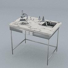 Стол химический, 1 ящик, блок розеток, ц/м, 900х600х740 мм