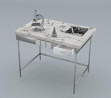 Стол химический, 1 ящик, блок розеток, сливная кювета, ц/м, 900х600х740 мм