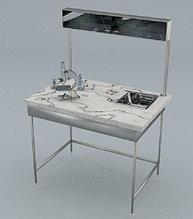 Стол химический, полка, подсветка, сливная кювета, ц/м, 900х600х740 (1500) мм