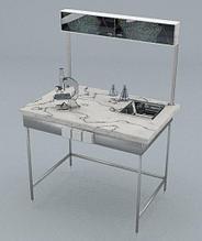 Стол химический, полка, блок розеток, сливная кювета, ц/м, 900х600х740 (1500) мм