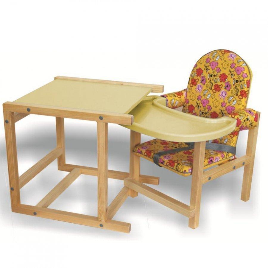 Стул-стол для кормления СЕНС-М СТД 07 пластиковая столешница Желтый