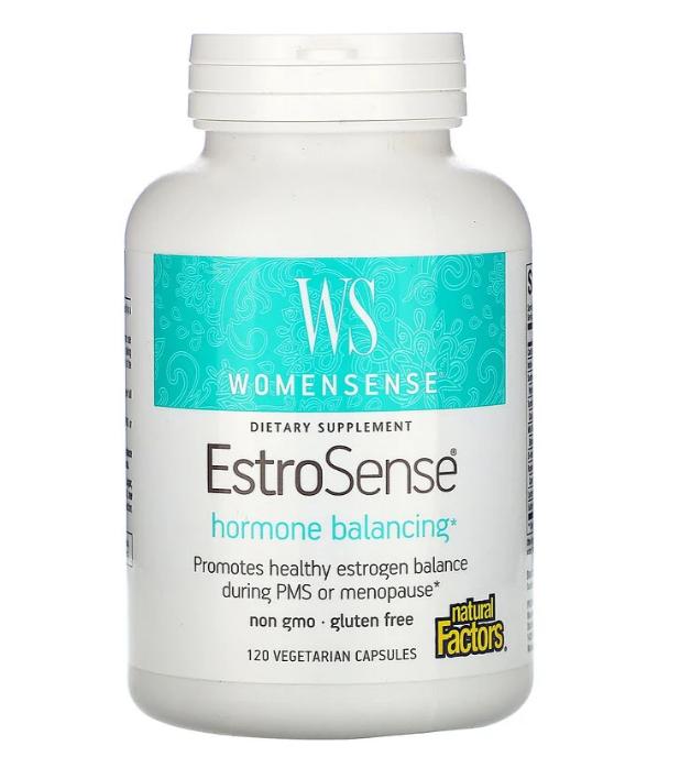 Natural Factors, WomenSense, EstroSense, Средство для поддержания гормонального баланса, 120 вегетарианских ка