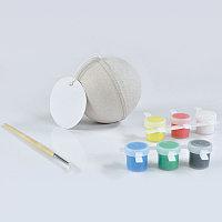 """Набор для раскраски """"ШАР"""", шар, кисть, краски 6 шт., некрашеный картон, , 20803"""