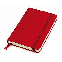 """Бизнес-блокнот """"Casual"""", 130*210 мм, красный, твердая обложка,  резинка 7 мм, блок-линейка, тиснение, Красный,"""