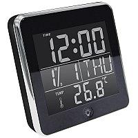 """Часы """"NEO"""" с будильником, календарем, подсветкой и термометром , черный, , 14506"""