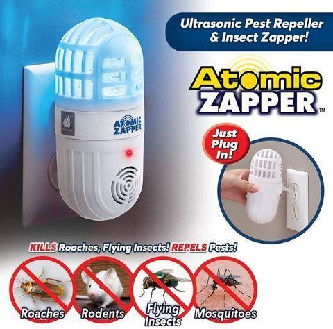 Отпугиватель насекомых и грызунов ультразвуковой с УФ-подсветкой Atomic Zapper 2 в 1