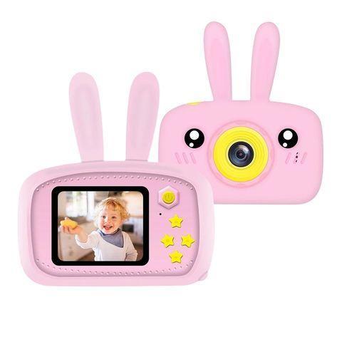 Фотоаппарат-игровая консоль детский GSMIN Fun Rabbit с силиконовым чехлом (Розовая)