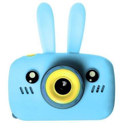 Фотоаппарат-игровая консоль детский GSMIN Fun Rabbit с силиконовым чехлом (Голубая), фото 2