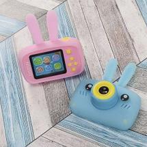 Фотоаппарат-игровая консоль детский GSMIN Fun Rabbit с силиконовым чехлом (Голубая), фото 3