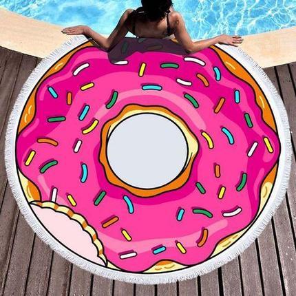 """Покрывало """"невесомое"""" с бахромой для пляжа «Самый сок» (Пончик), фото 2"""