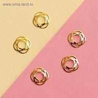 Декоративные элементы «Роза», 0,9 × 0,9 см, 5 шт, цвет золотистый