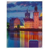 Записная книжка А6, 80 листов, сшивная 'Ночная Прага', твёрдая обложка, металлизация, блок 60г/м2
