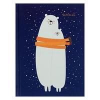 Записная книжка А6, 64 листа 'Мишки на севере', сшивная, твёрдая обложка, матовая ламинация, выборочный лак,