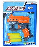 Поврежденная упаковка!!!! 826-16A Пистолет + 3 пульки Soft Competion Gun 23*187см