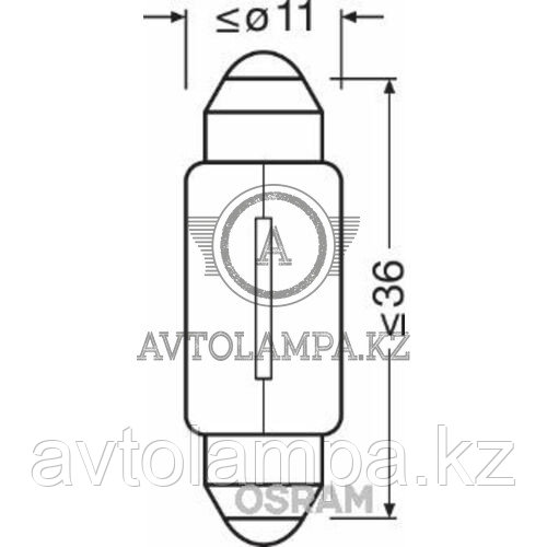 6418 Лампа качество (ОЕМ) C5W 12V 5W SV8.5-8 ORIGINAL LINE уп.10 шт. цена за 1 шт. - фото 2