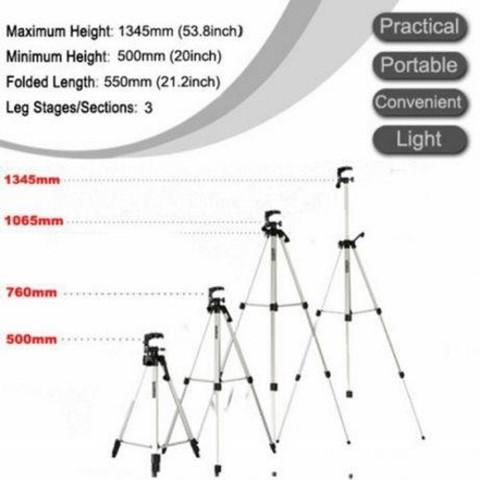 Штатив-трипод с телескопической осью для смартфона, GoPro и фотоаппарата до 3кг Tripod 330A с чехлом - фото 3