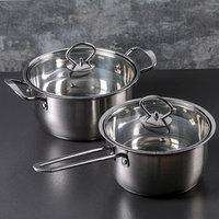 Набор посуды 'Хести', 2 предмета кастрюля 22 см, ковш 18 см, капсульное дно, толщина 0,5 см