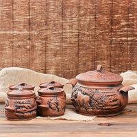 Набор суповой 'Супец', красная глина, 3 л, 0.6 л