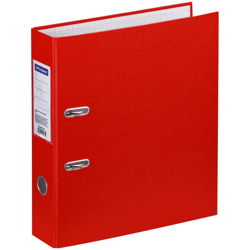 Папка-регистратор OfficeSpace, 70мм, бумвинил, красная