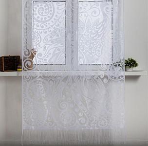 Занавеска для кухни без шторной ленты 230х130 см