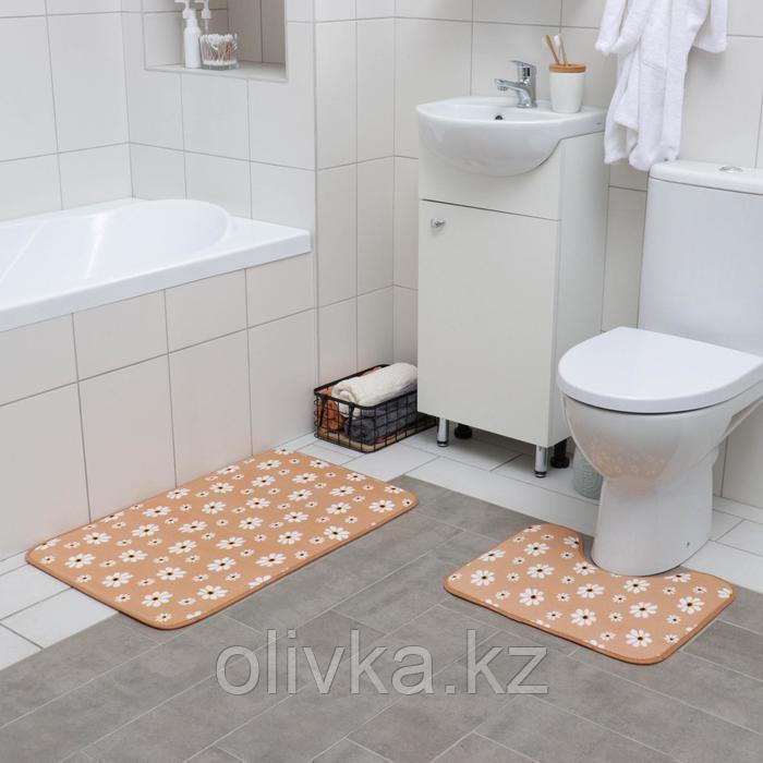 Набор ковриков для ванны и туалета «Ромашки», 2 шт: 50×80, 40×50 см, цвет бежевый