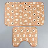 Набор ковриков для ванны и туалета «Ромашки», 2 шт: 50×80, 40×50 см, цвет бежевый, фото 2