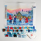 Алмазная вышивка с частичным заполнением «Зимние забавы» 30х40 см, холст, емкость, фото 3