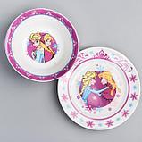 Набор посуды «Анна и Эльза», 4 предмета: тарелка Ø 16,5 см, миска Ø 14 см, кружка 200 мл, коврик в подарочной, фото 4