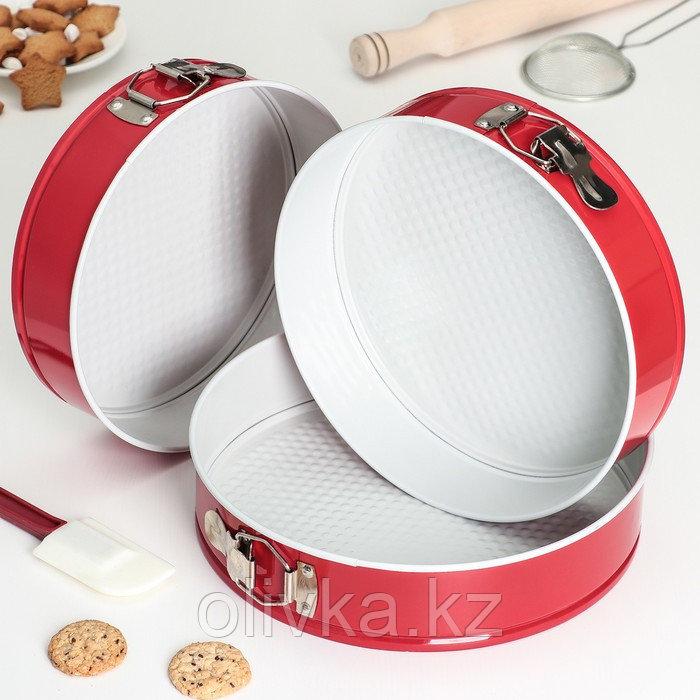 Набор форм для выпечки разъёмных «Флёри. Круг», 3 шт: 28 см, 26 см, 24 см, с керамическим покрытием, цвет