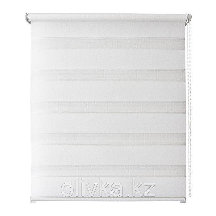 Рулонная штора день/ночь «Канзас», 60 х 160 см, цвет белый