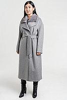 Серое женское пальто с норковым воротником Турция