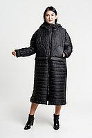 Куртка стеганая с капюшоном женская черного цвета Италия