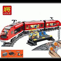 Конструктор Пассажирский красный поезд Lele Сити 763 детали