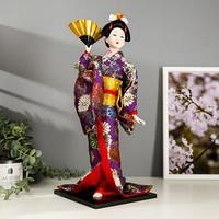 Кукла коллекционная 'Гейша в фиолетовом кимоно с веером' 42х16,5х16,5 см