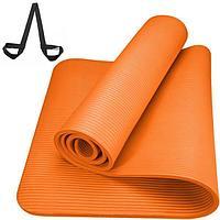 Коврик для йоги NBR 183*61*1 см, с ремешком, оранжевый
