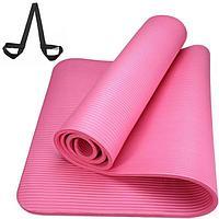 Коврик для йоги и фитнеса NBR 183*61*1 см, с ремешком, розовый