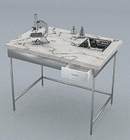 Стол химический, полка, 1 ящик, подсветка, сливная кювета, ц/м, 1200х600х900 (1500) мм